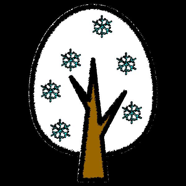 手書き風でかわいい冬の木の無料イラスト・商用フリー