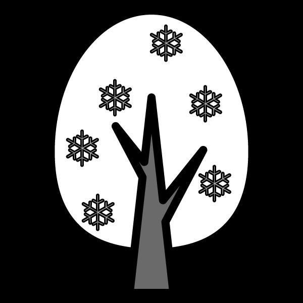 モノクロでかわいい冬の木の無料イラスト・商用フリー