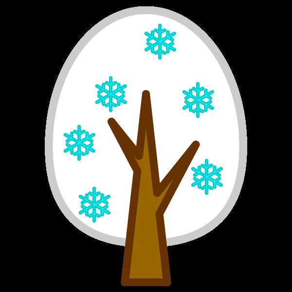 ソフトタッチでかわいい冬の木の無料イラスト・商用フリー