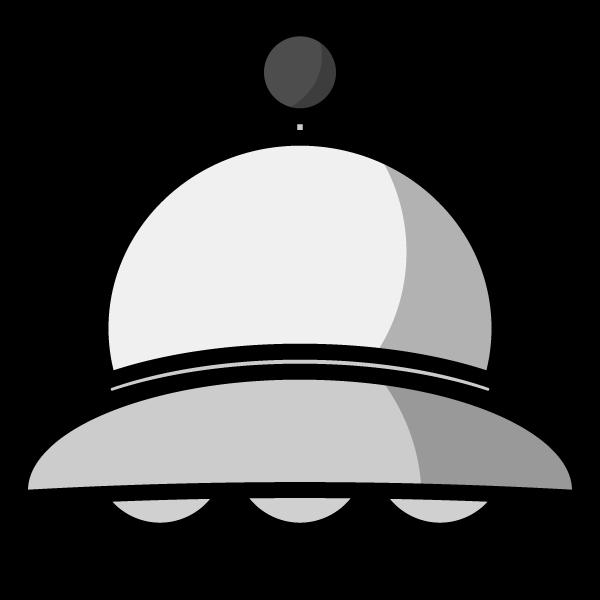 モノクロでかわいいUFOの無料イラスト・商用フリー