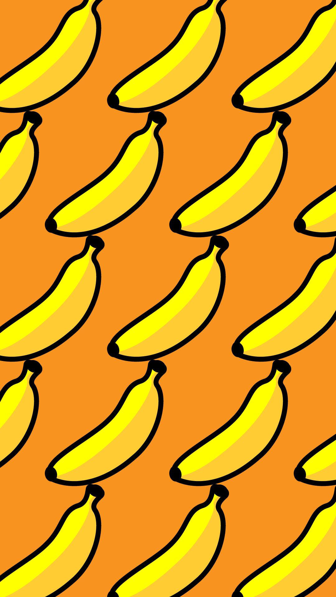 かわいいバナナづくし壁紙(iPhone)の無料イラスト・商用フリー
