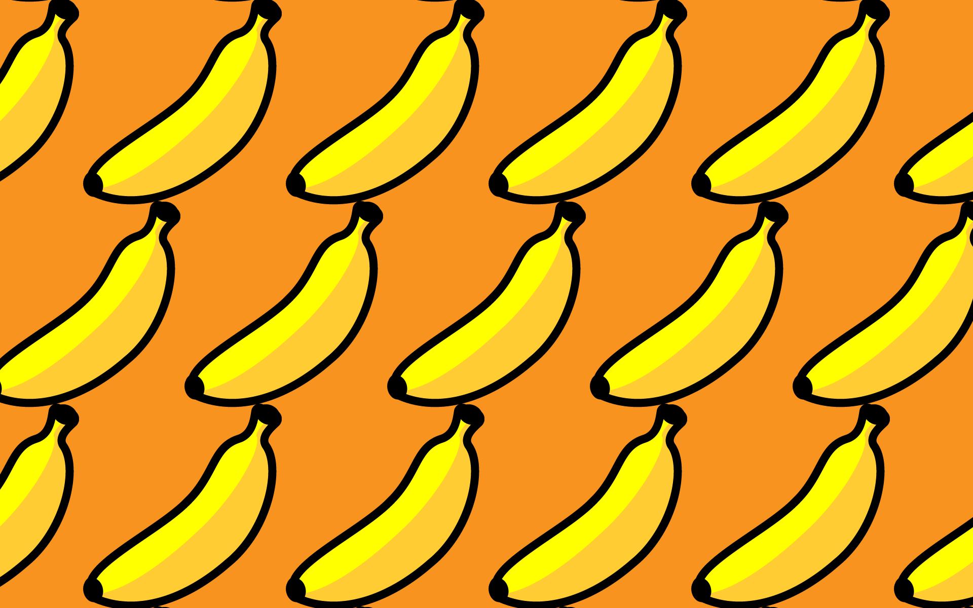 かわいいバナナづくし壁紙(PC)の無料イラスト・商用フリー