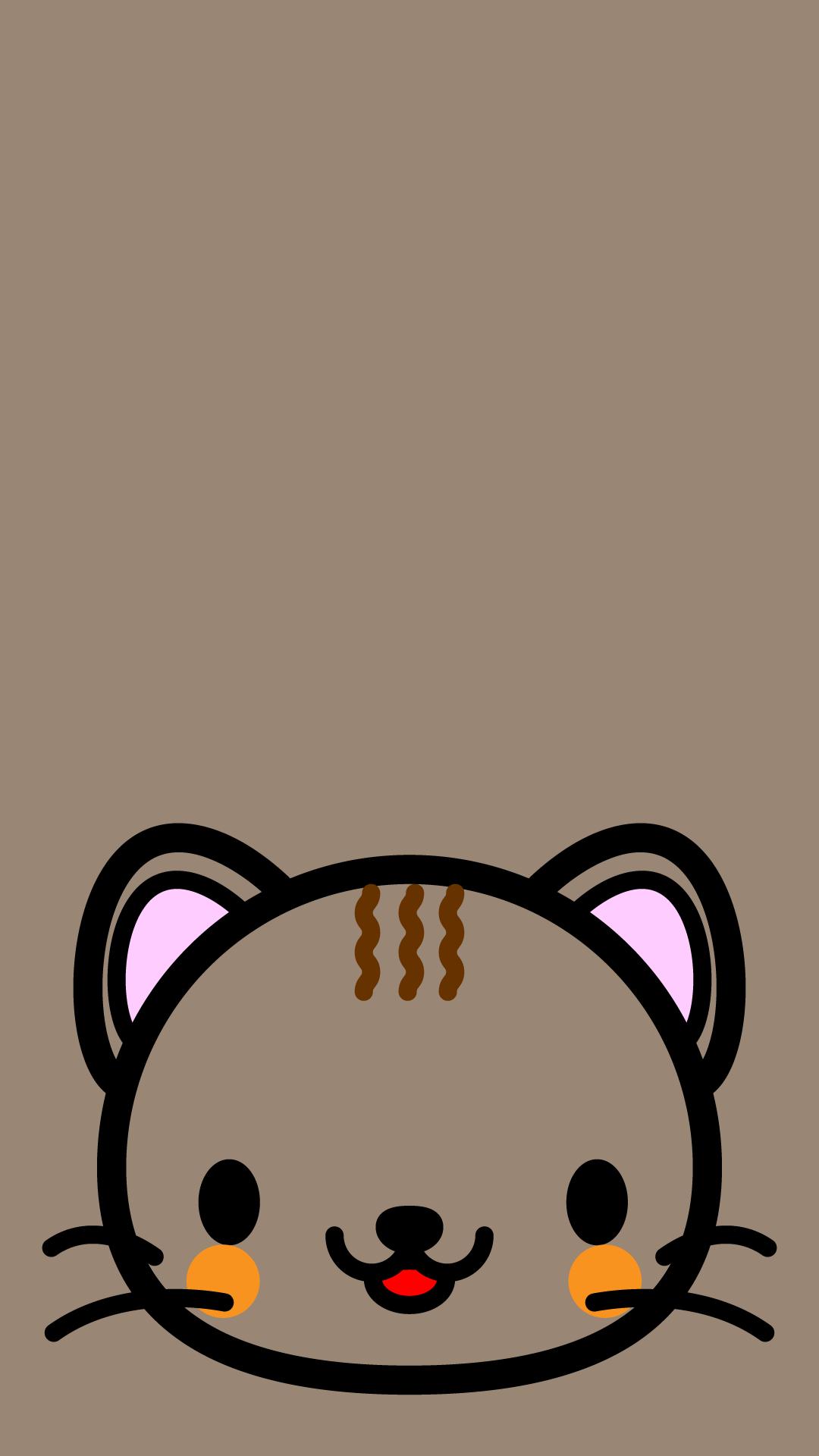 かわいい顔だけ猫壁紙(iPhone)の無料イラスト・商用フリー