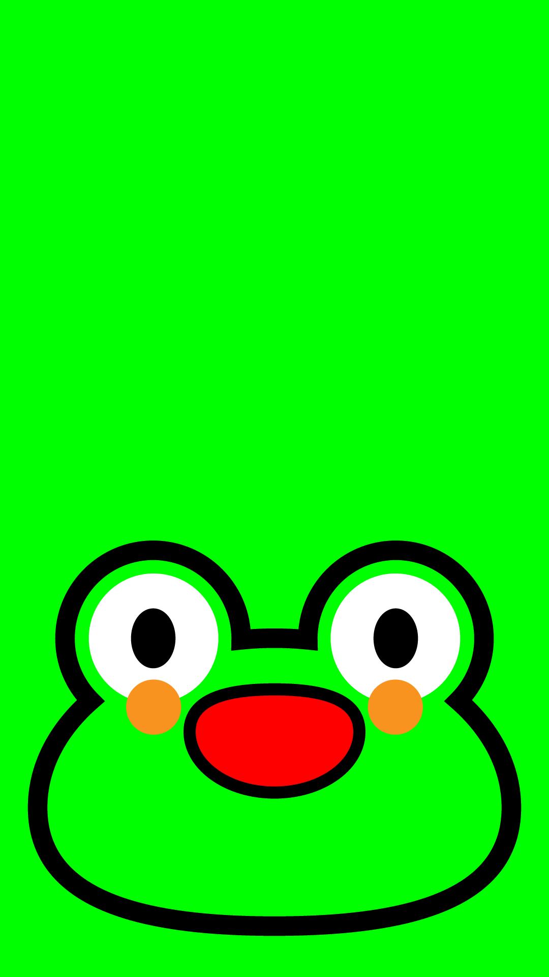 かわいい顔だけカエル壁紙(iPhone)の無料イラスト・商用フリー