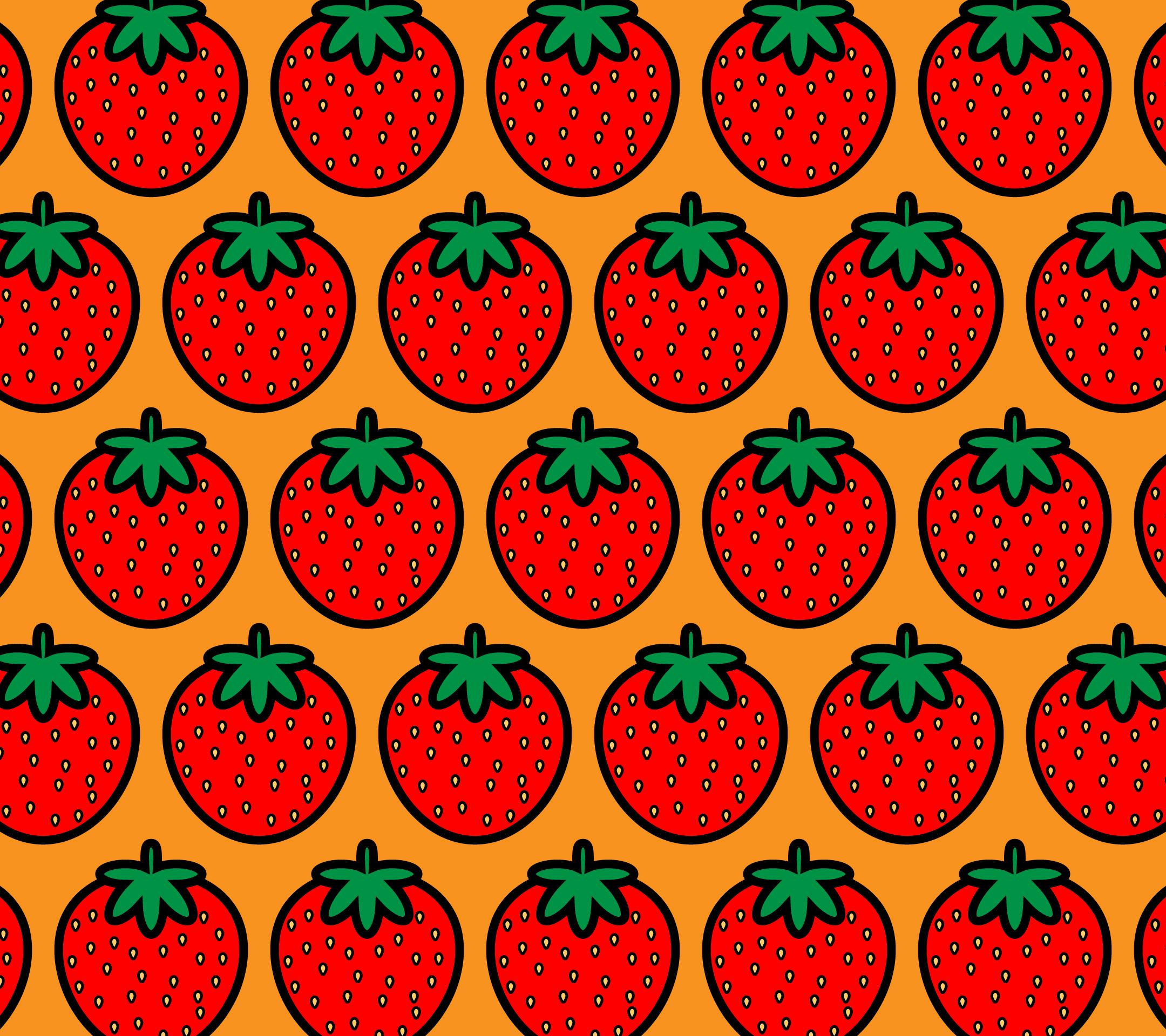 かわいいイチゴづくし壁紙(Android)の無料イラスト・商用フリー