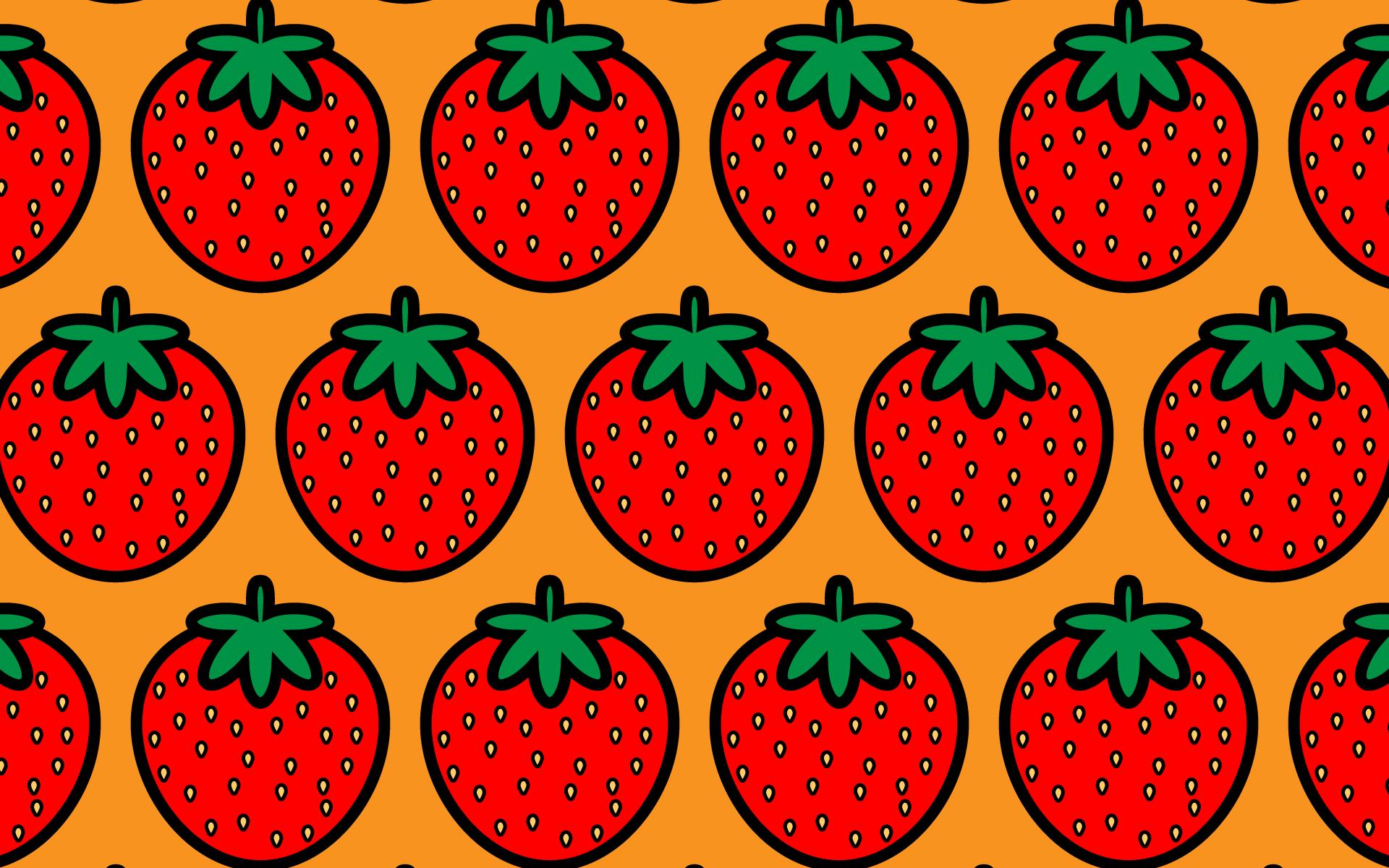 かわいいイチゴづくし壁紙(PC)の無料イラスト・商用フリー
