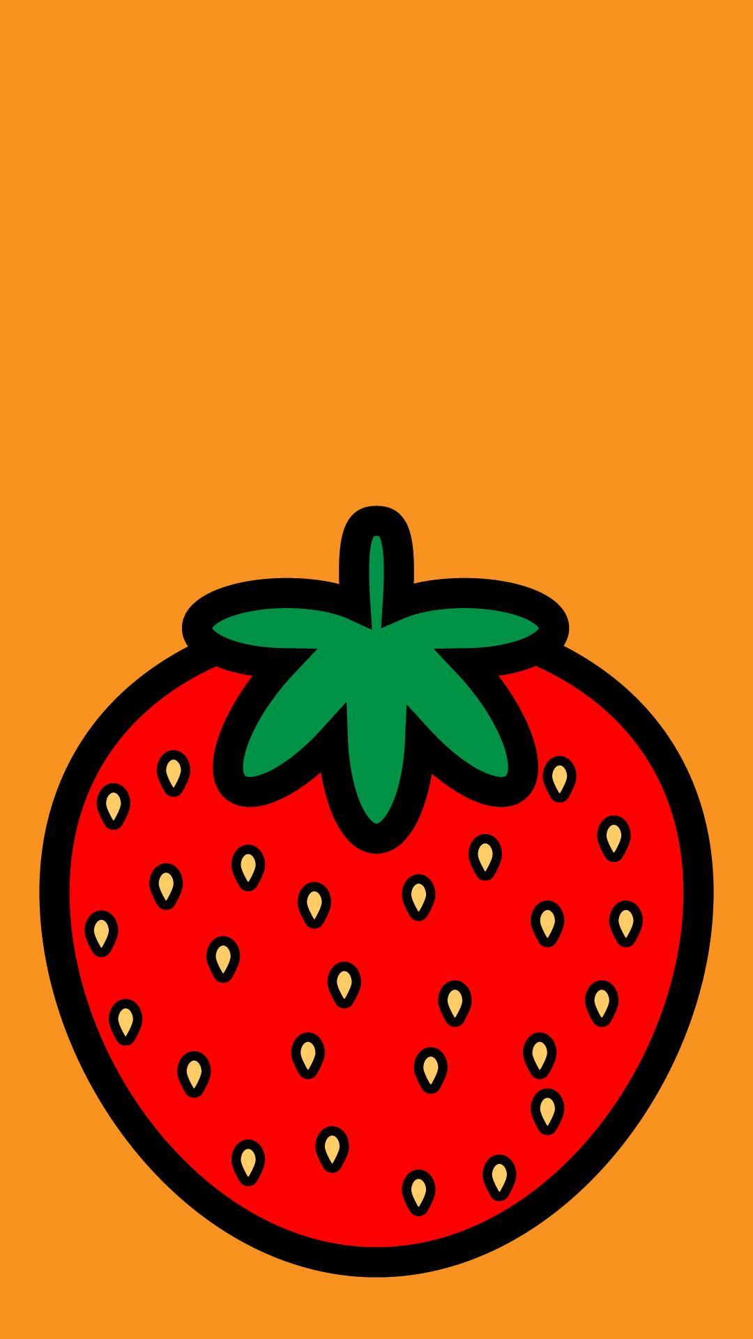 かわいいイチゴ壁紙(iPhone)の無料イラスト・商用フリー