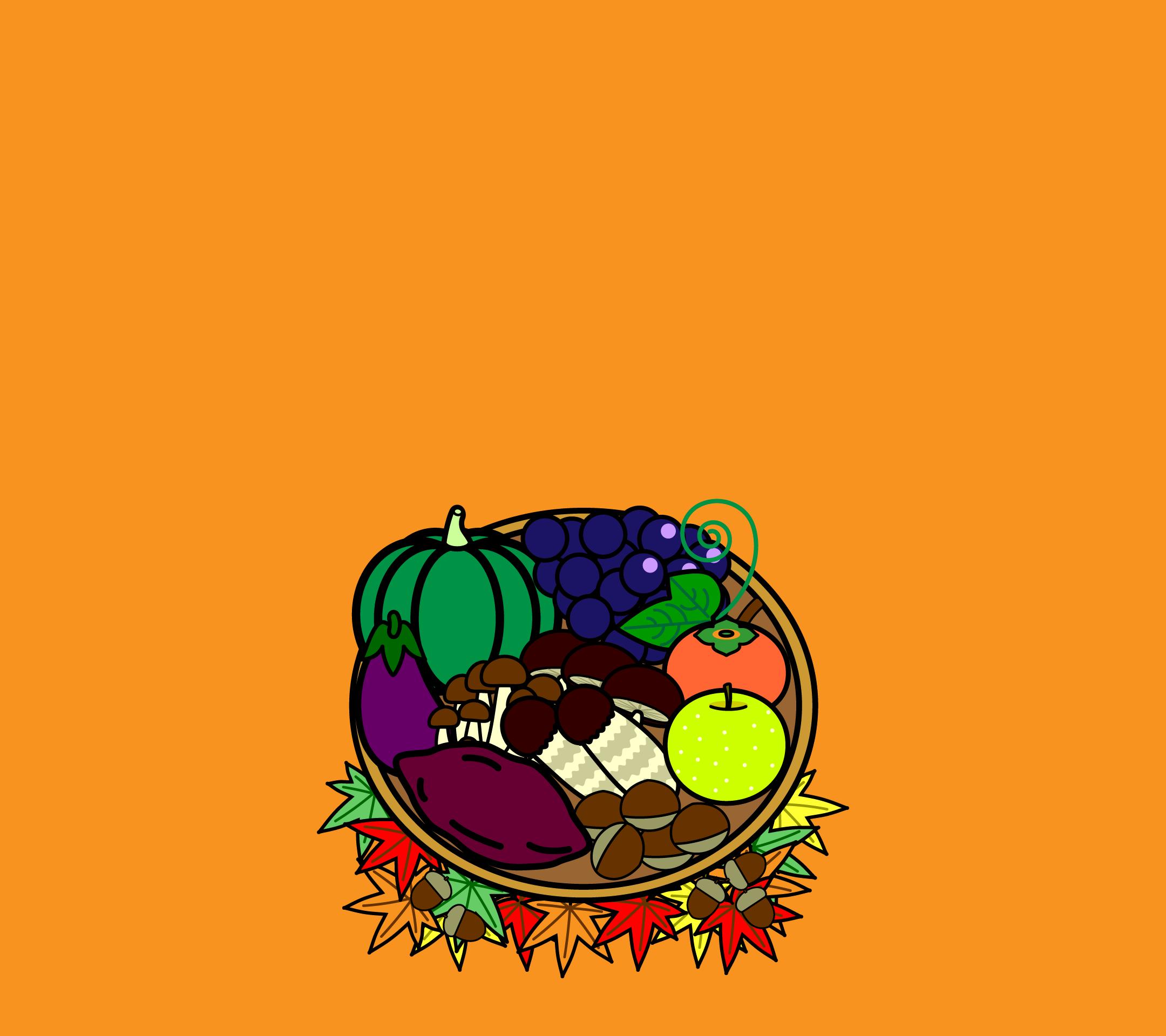 かわいい秋の味覚狩り壁紙(Android)の無料イラスト・商用フリー
