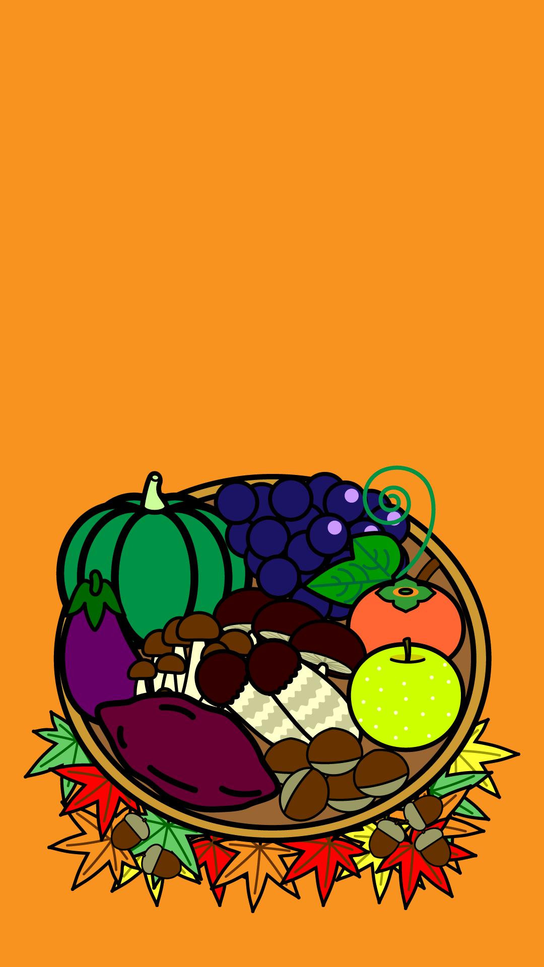 かわいい秋の味覚狩り壁紙(iPhone)の無料イラスト・商用フリー