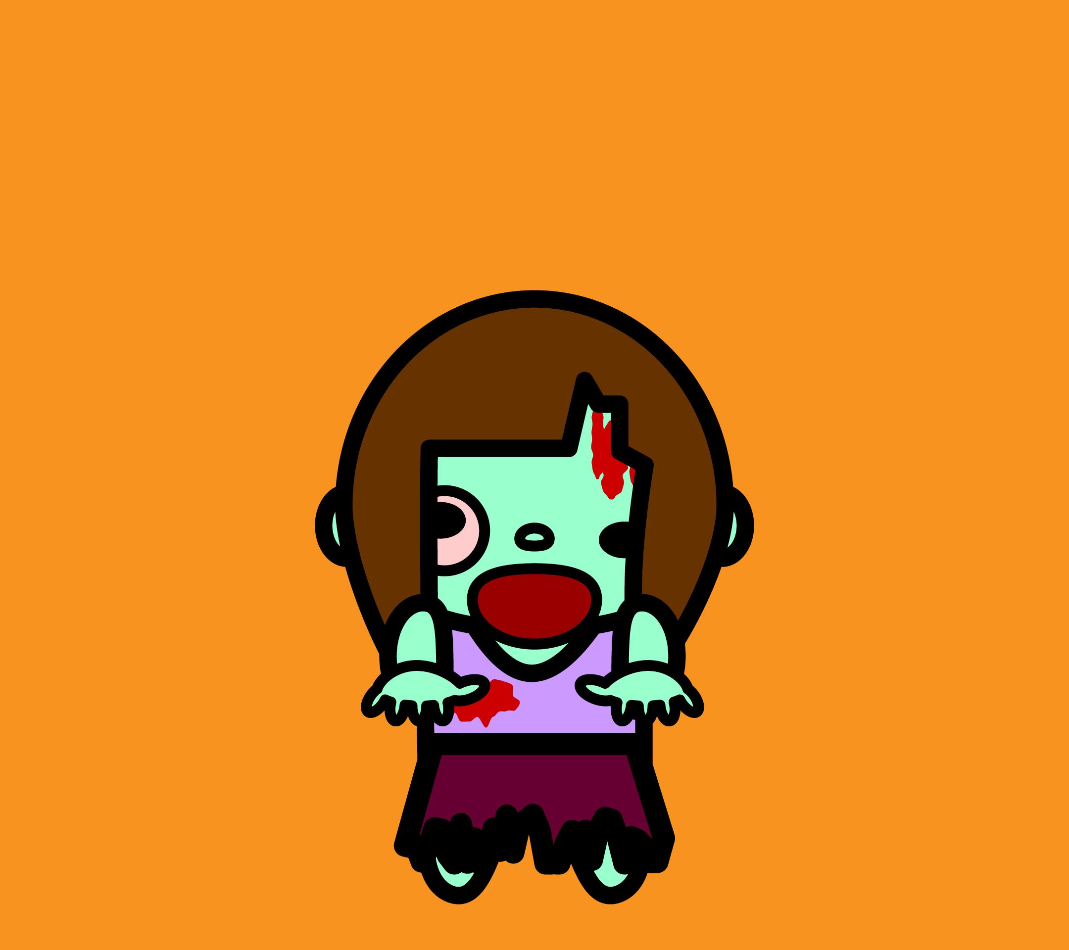 かわいいゾンビ(女性)壁紙(Android)の無料イラスト・商用フリー
