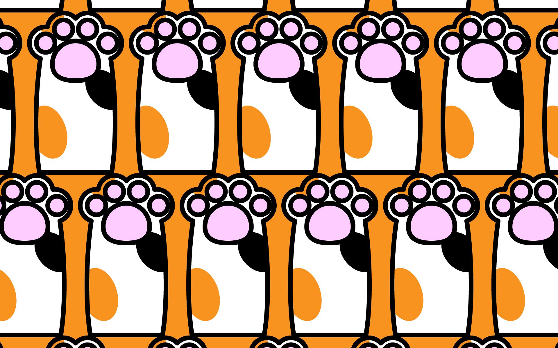 かわいい猫の手づくし壁紙(PC)の無料イラスト・商用フリー