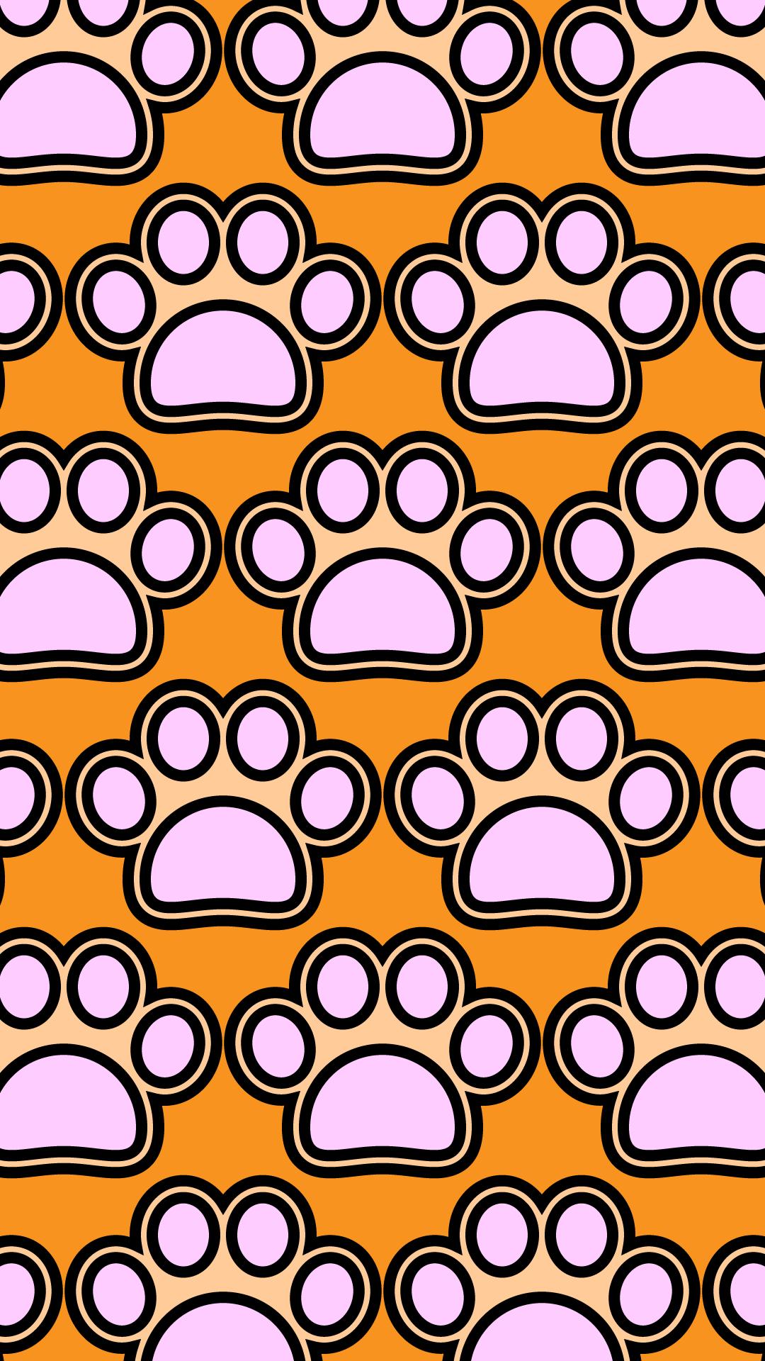 かわいい犬の肉球づくし壁紙(iPhone)の無料イラスト・商用フリー