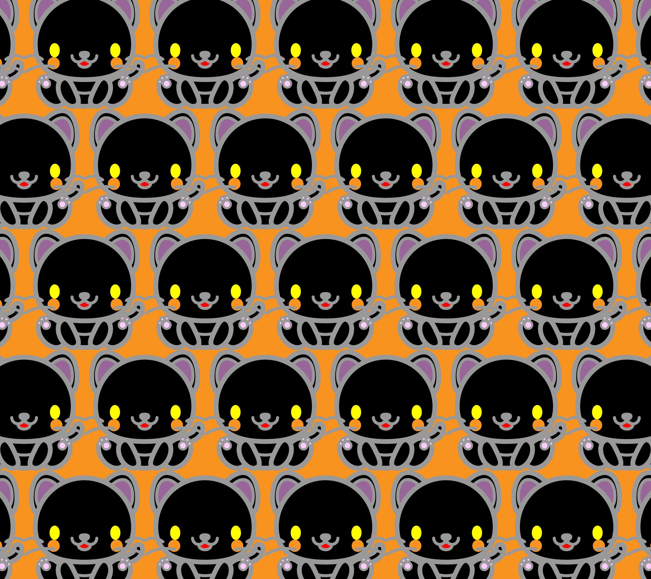 かわいい座り黒猫づくし壁紙(Android)の無料イラスト・商用フリー