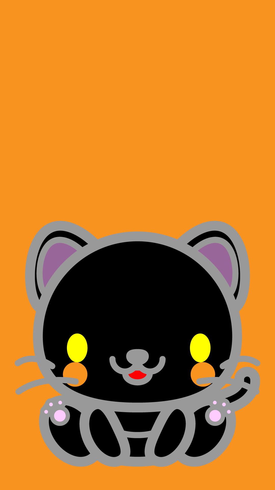 かわいい座り黒猫壁紙(iPhone)の無料イラスト・商用フリー