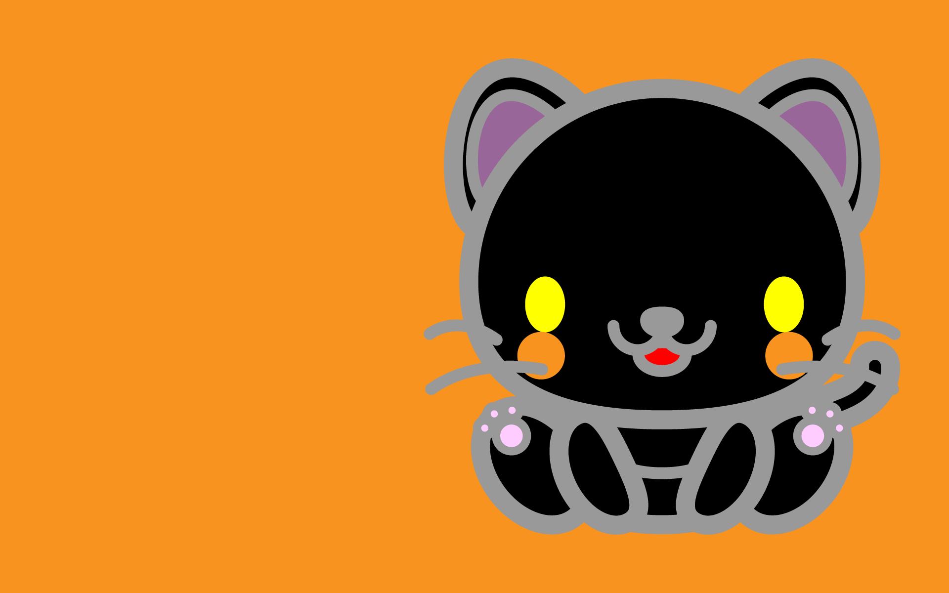 かわいい座り黒猫壁紙(PC)の無料イラスト・商用フリー