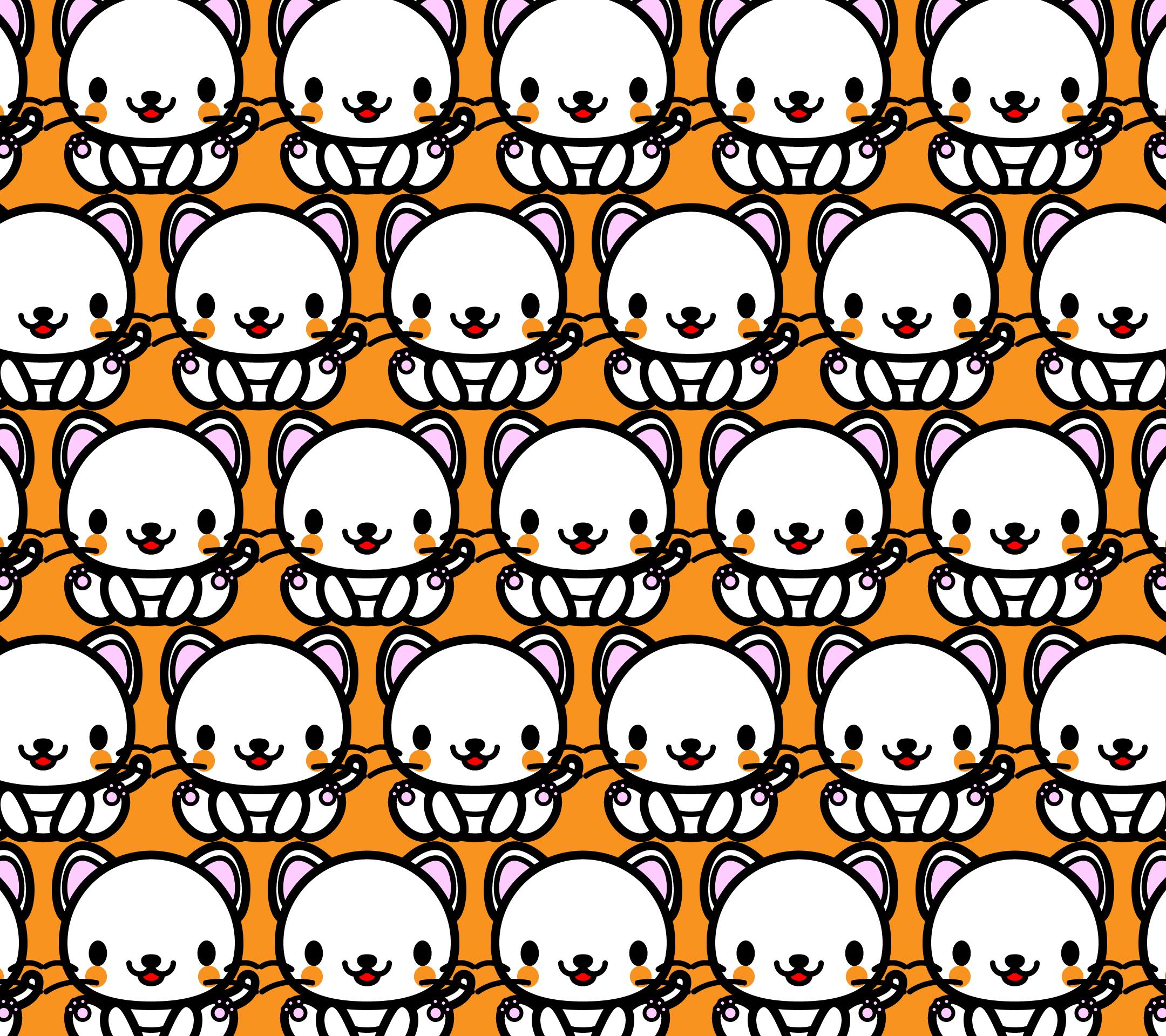かわいい座り白猫づくし壁紙(Android)の無料イラスト・商用フリー