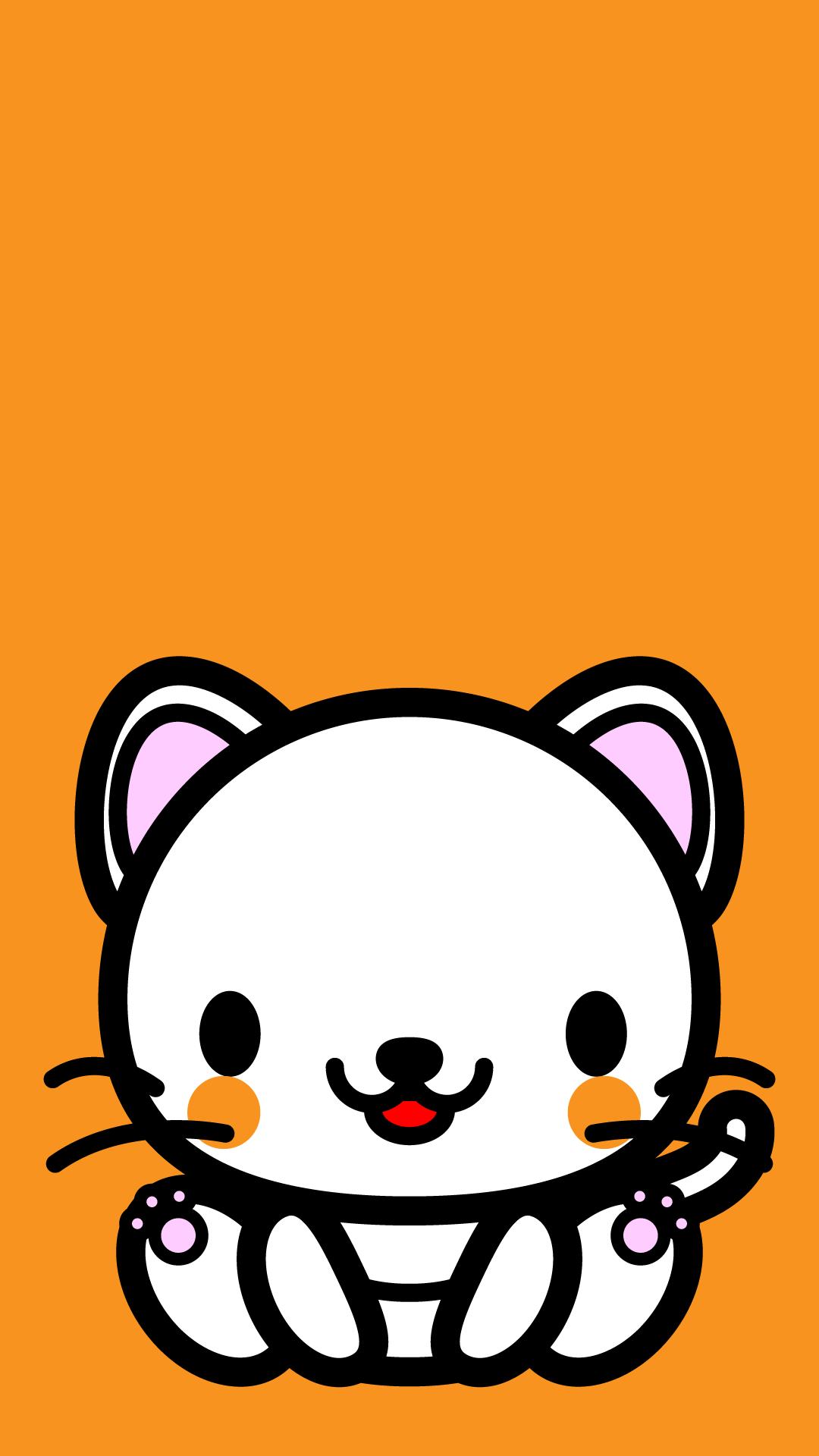 かわいい座り白猫壁紙(iPhone)の無料イラスト・商用フリー