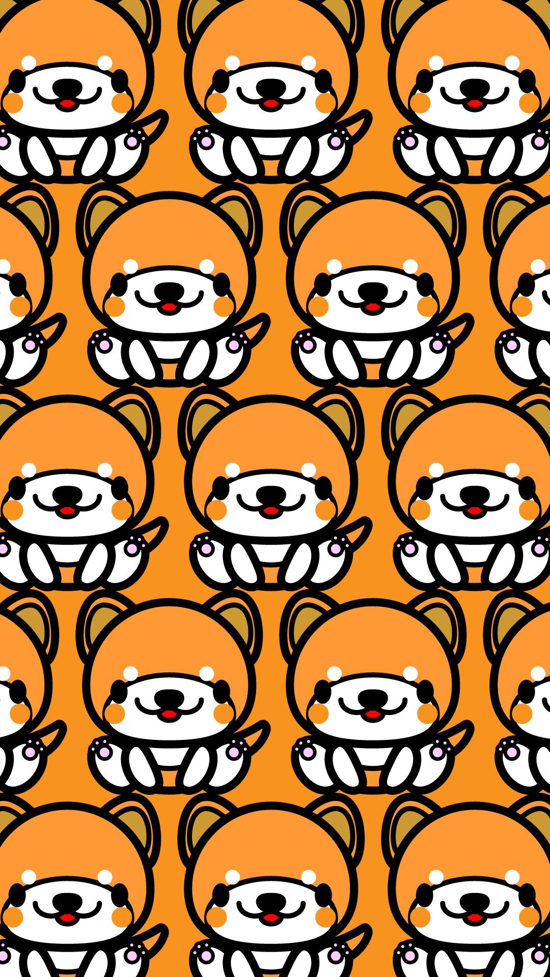 かわいい座り秋田犬づくし壁紙(iPhone)の無料イラスト・商用フリー