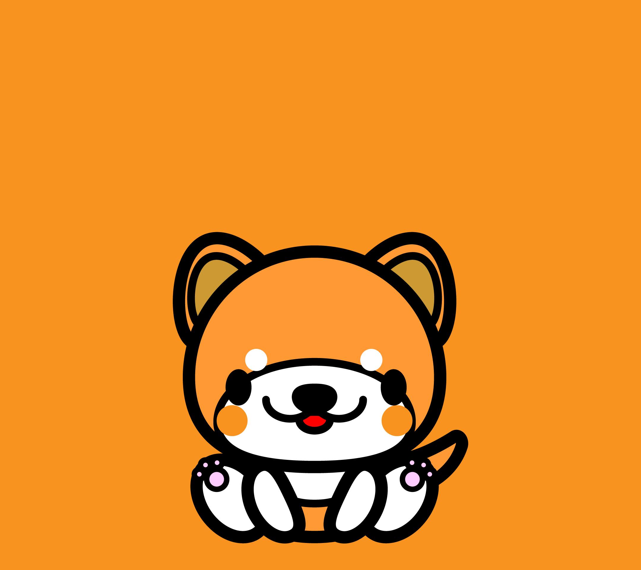 かわいい座り秋田犬壁紙(Android)の無料イラスト・商用フリー