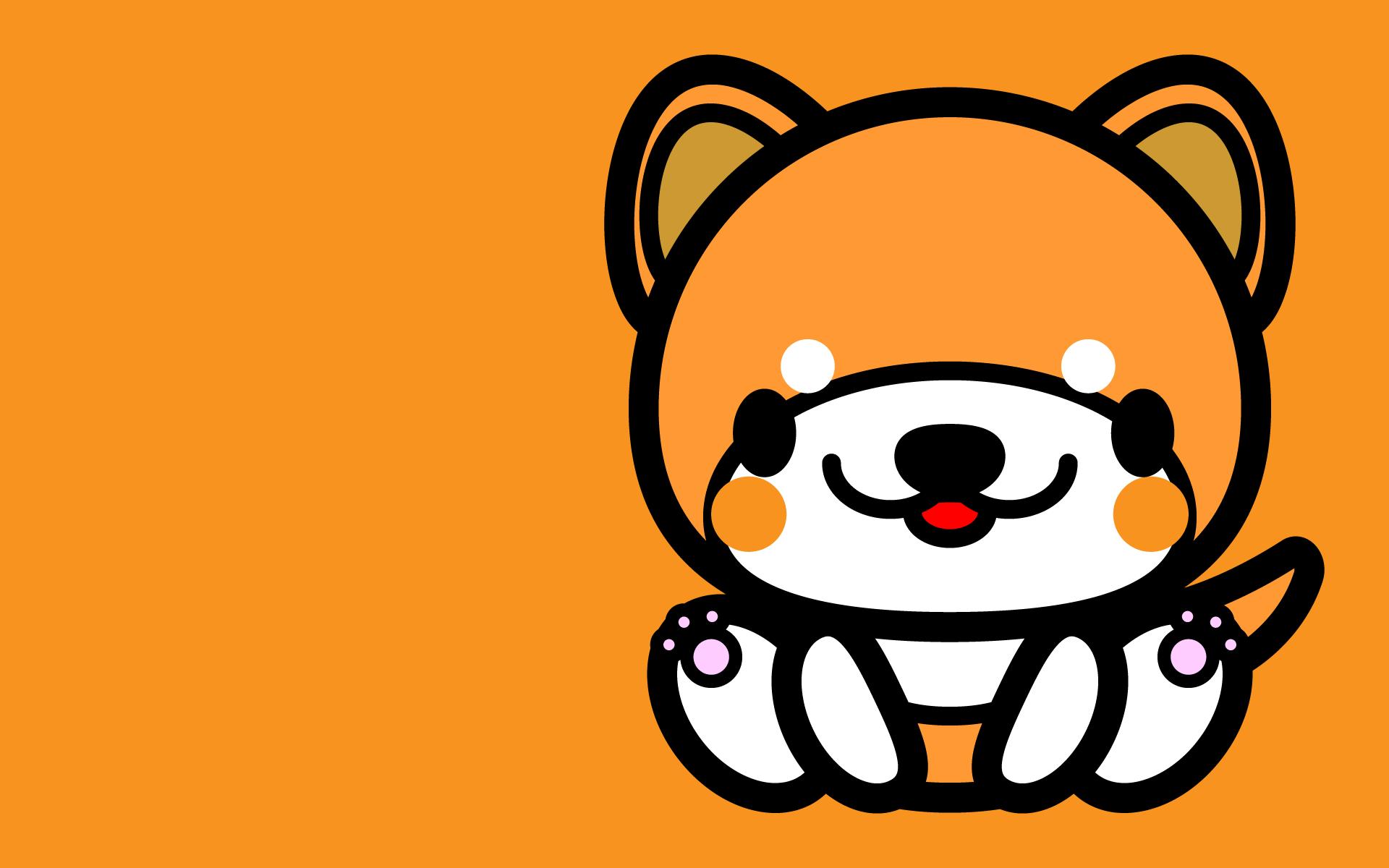 かわいい座り秋田犬壁紙(PC)の無料イラスト・商用フリー
