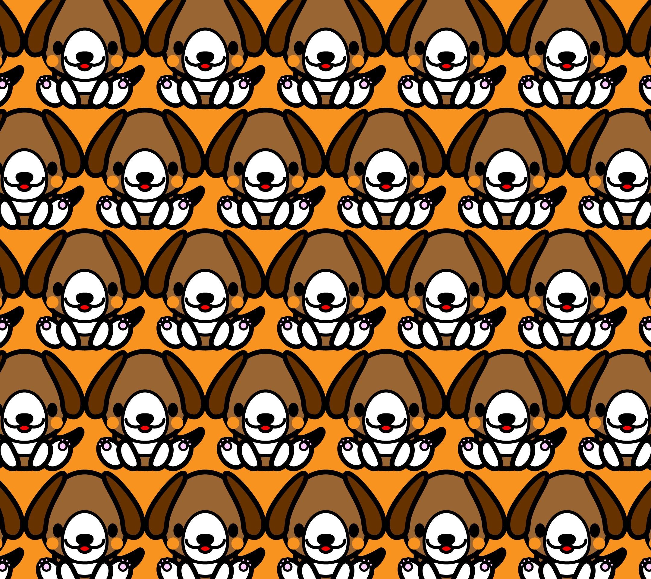 かわいい座りビーグル犬づくし壁紙(Android)の無料イラスト・商用フリー
