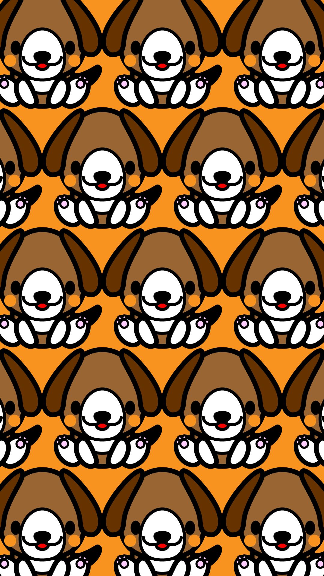 かわいい座りビーグル犬づくし壁紙(iPhone)の無料イラスト・商用フリー