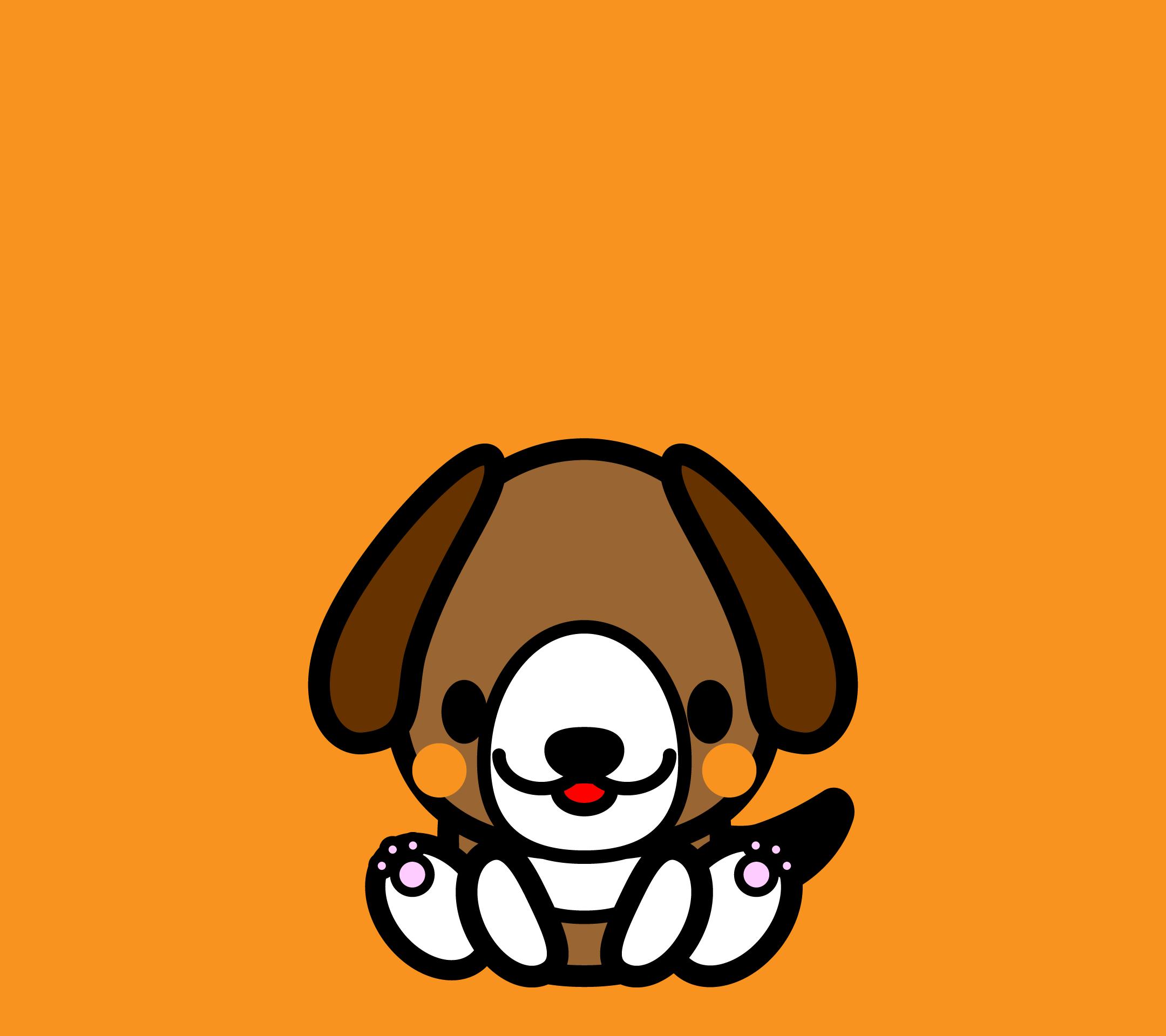 かわいい座りビーグル犬壁紙(Android)の無料イラスト・商用フリー