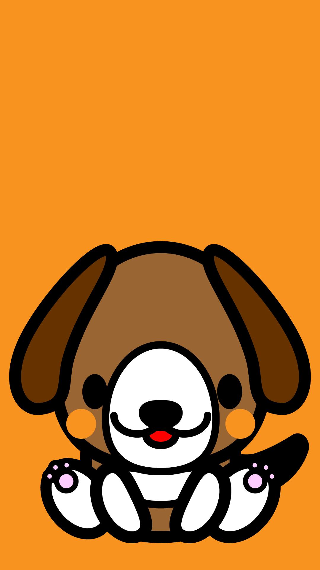かわいい座りビーグル犬壁紙(iPhone)の無料イラスト・商用フリー