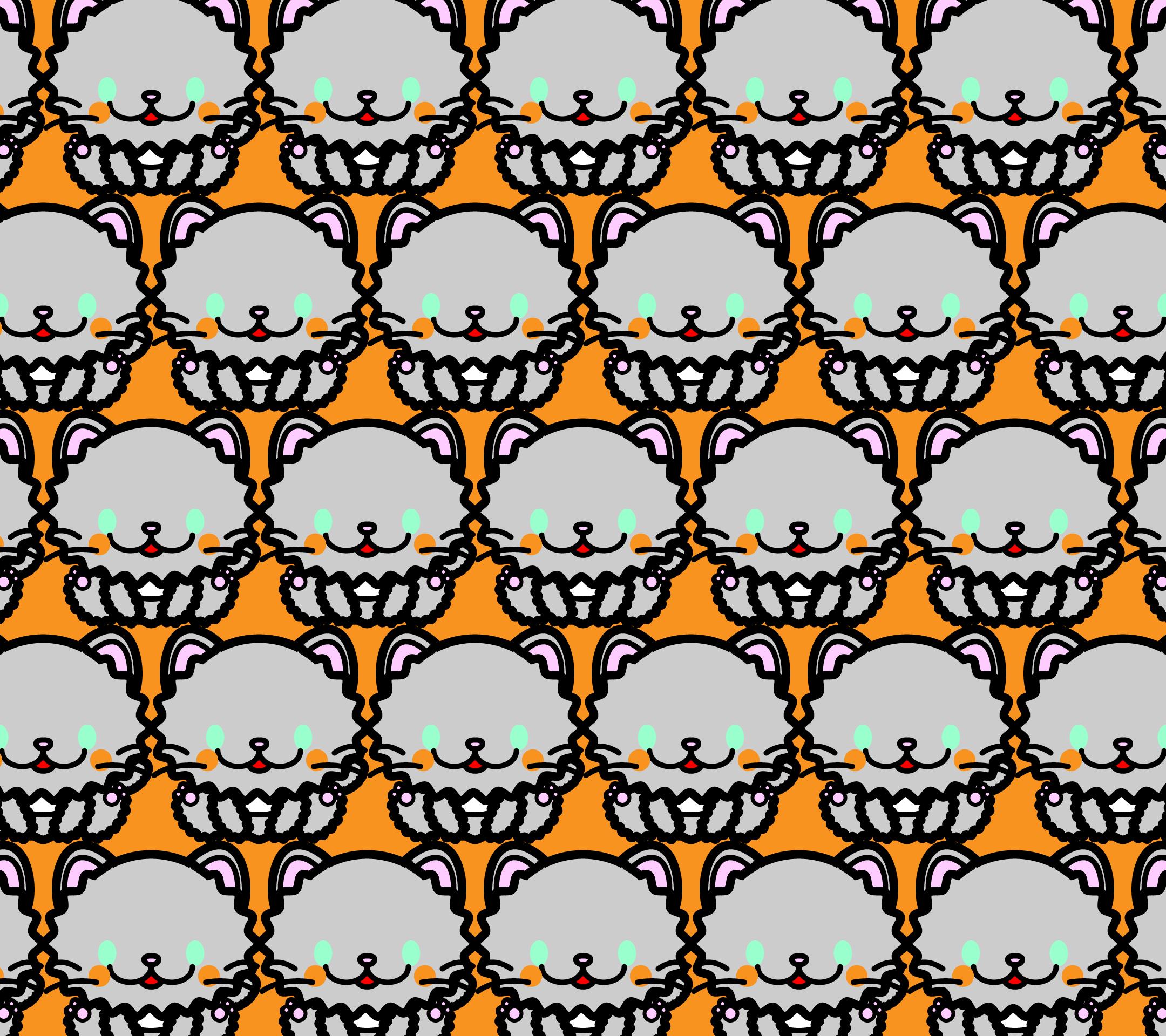 かわいい座りペルシャ猫づくし壁紙(Android)の無料イラスト・商用フリー