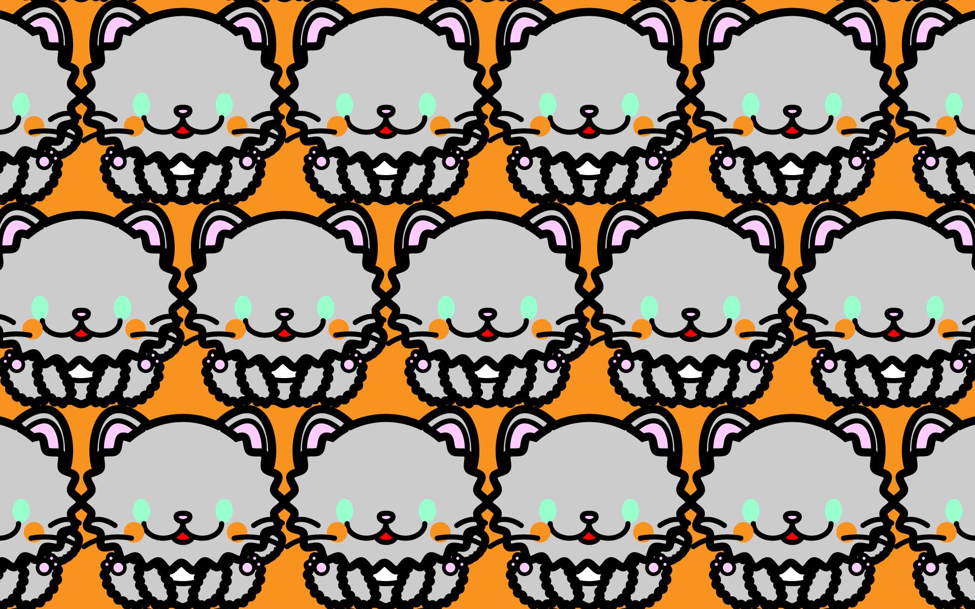 かわいい座りペルシャ猫づくし壁紙(PC)の無料イラスト・商用フリー