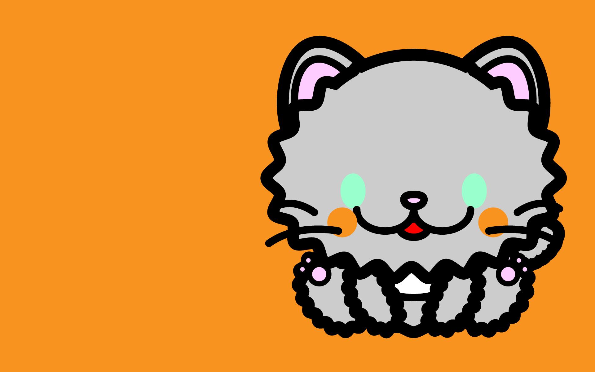 かわいい座りペルシャ猫壁紙(PC)の無料イラスト・商用フリー