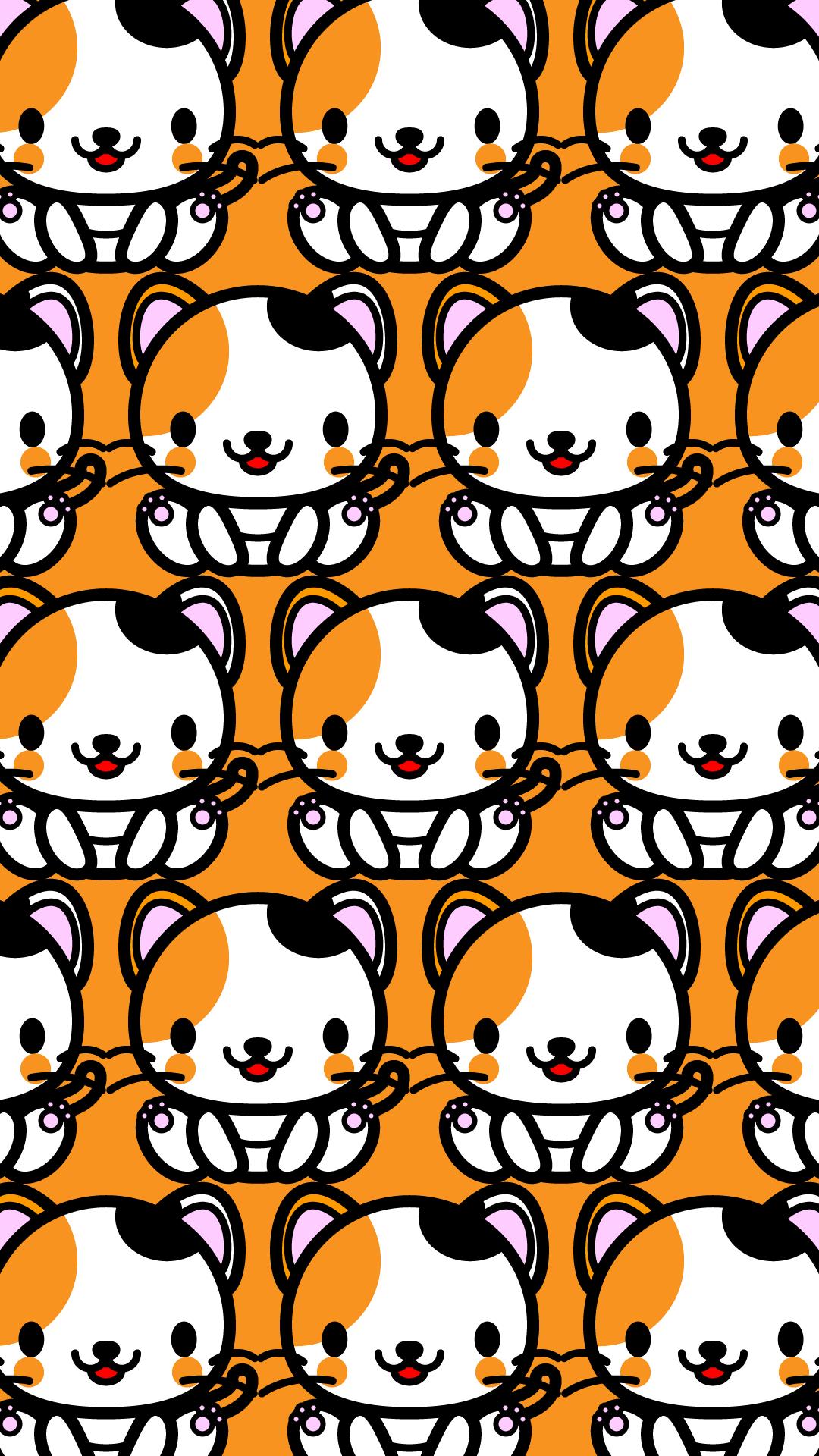 かわいい座り三毛猫づくし壁紙(iPhone)の無料イラスト・商用フリー