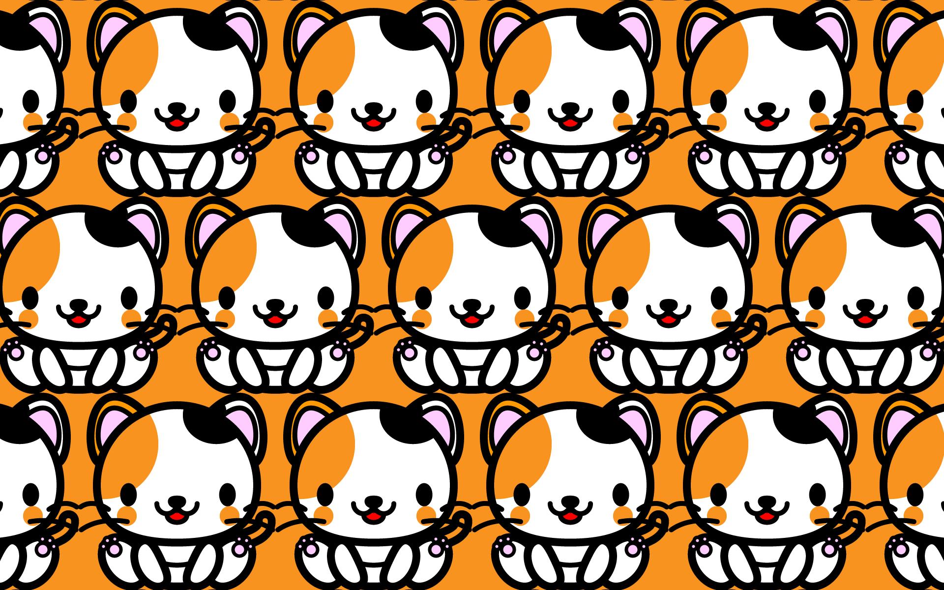 かわいい座り三毛猫づくし壁紙(PC)の無料イラスト・商用フリー