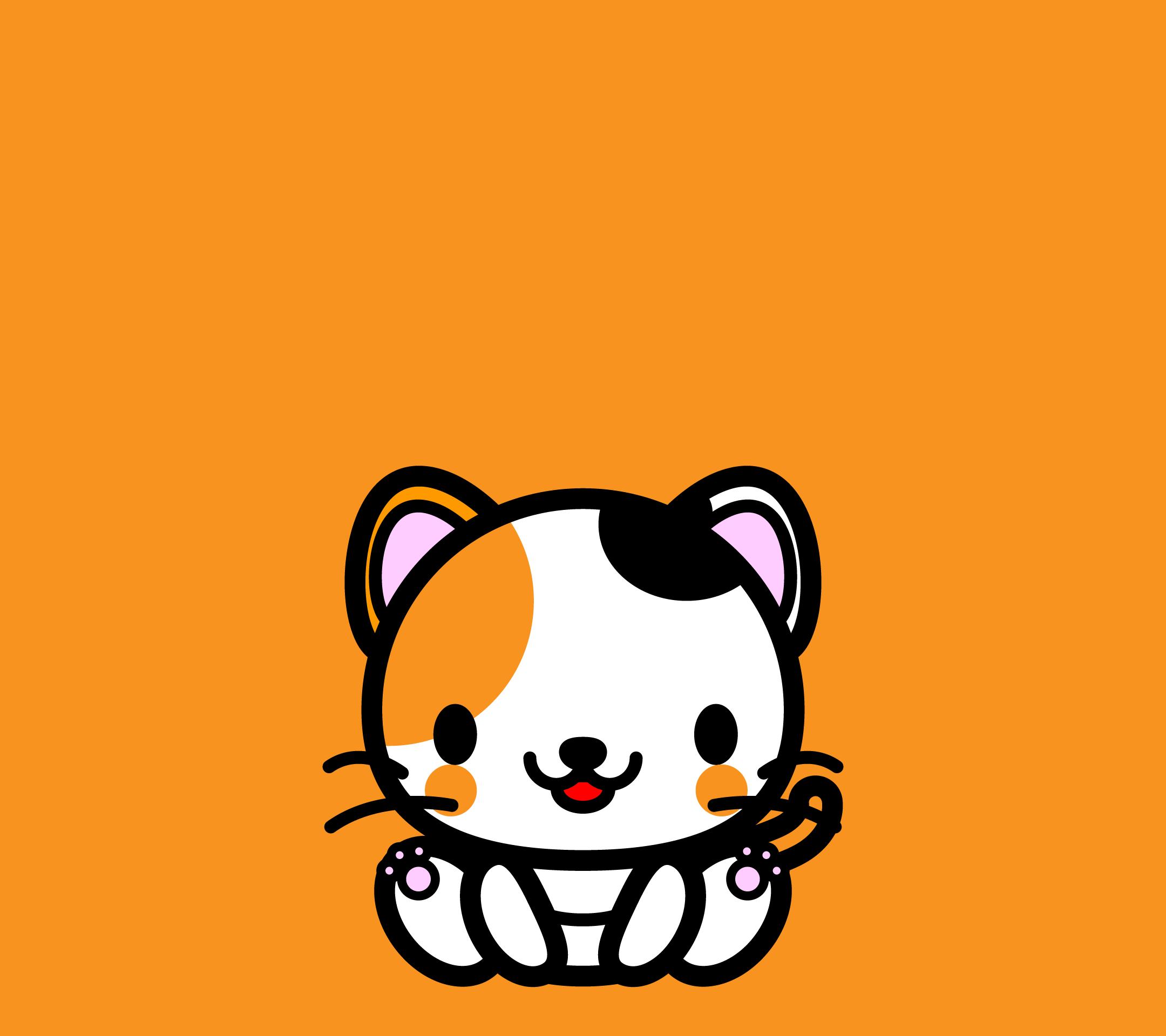 かわいい座り三毛猫壁紙(Android)の無料イラスト・商用フリー