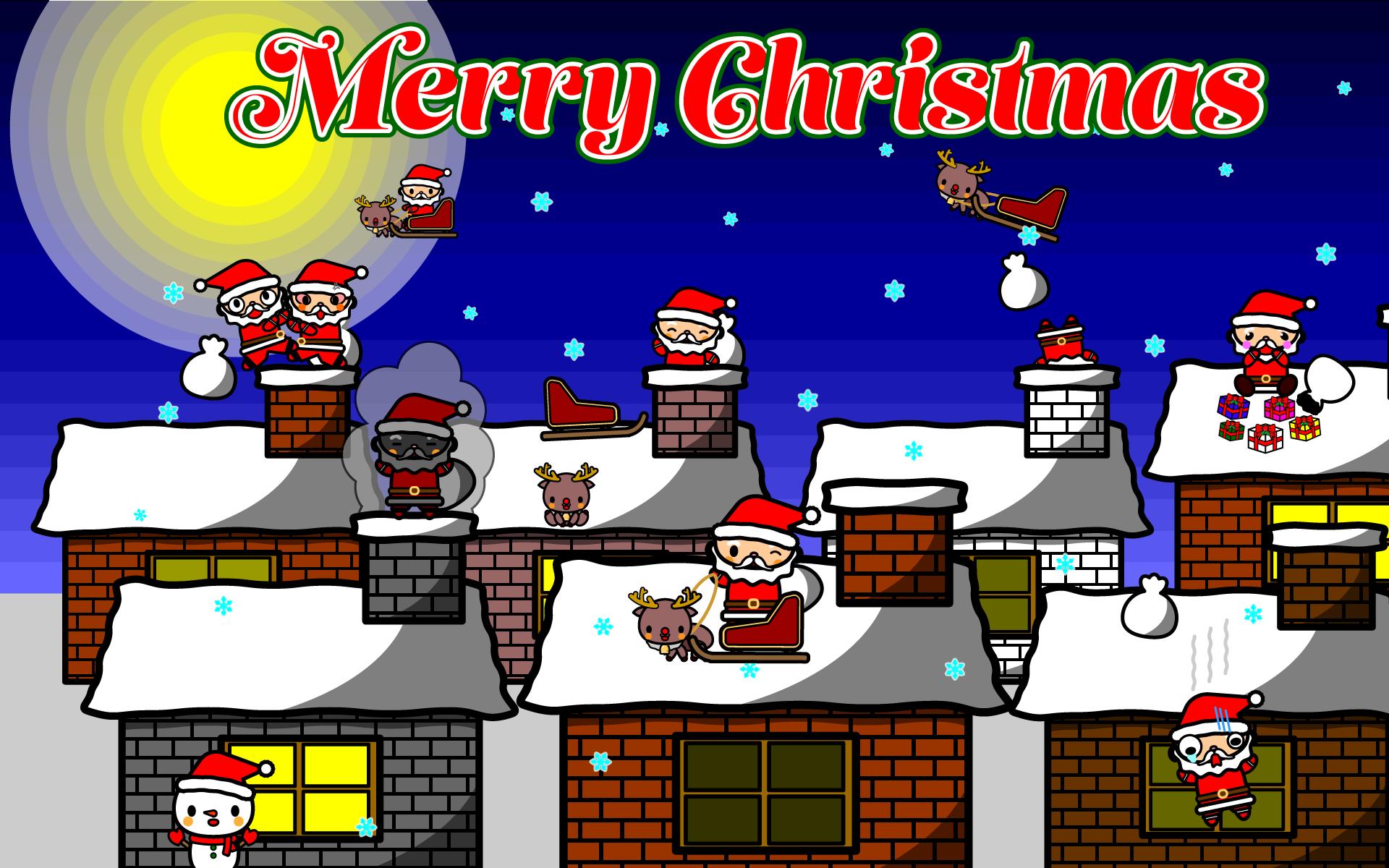 かわいいメリークリスマス壁紙(PC)の無料イラスト・商用フリー