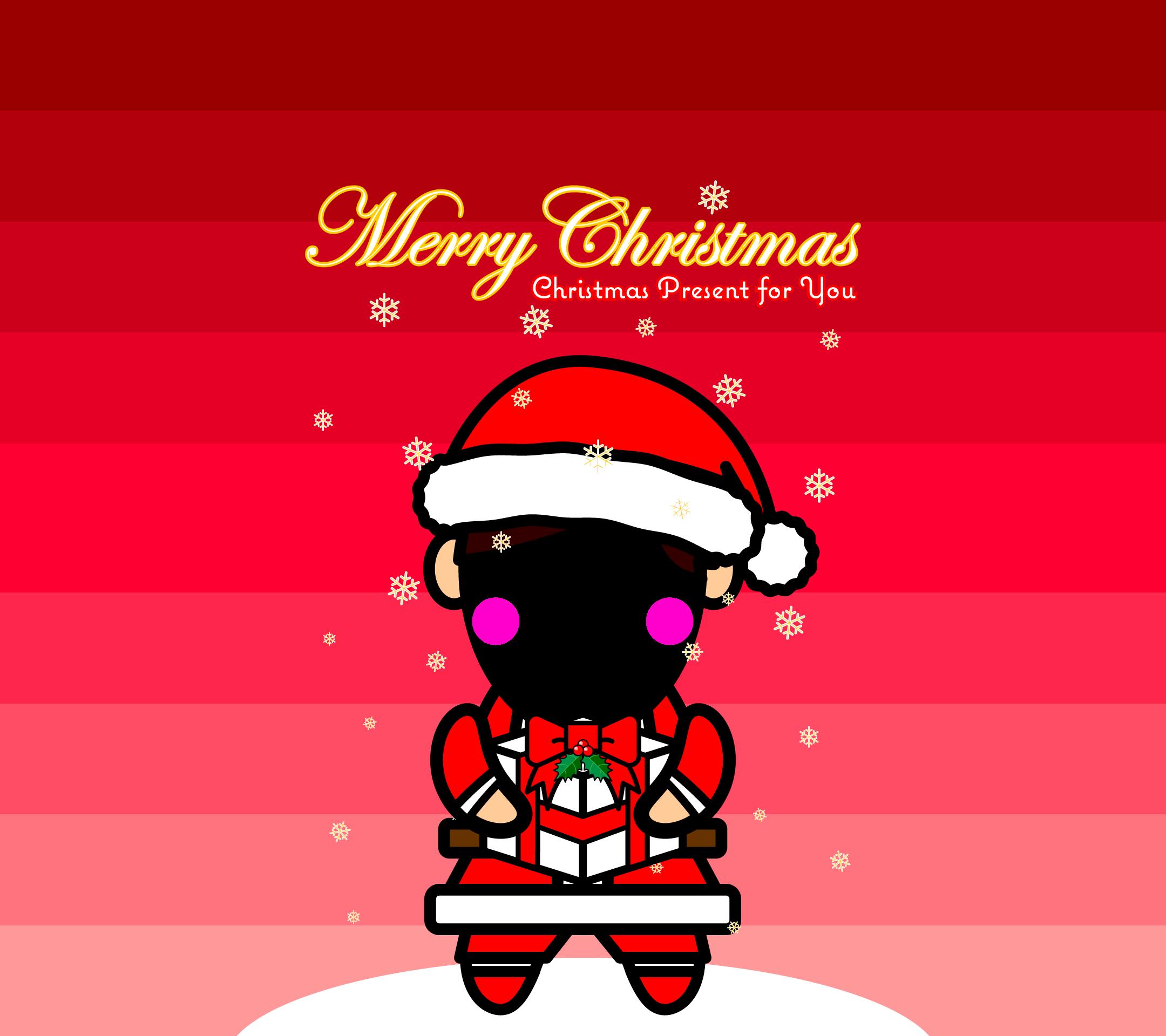かわいいサンタ男子の合成壁紙(Android)の無料イラスト・商用フリー