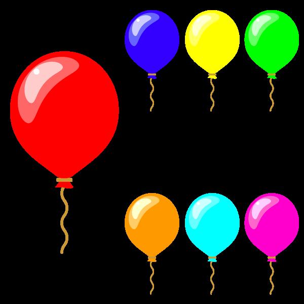 縁無しでかわいい風船の無料イラスト・商用フリー