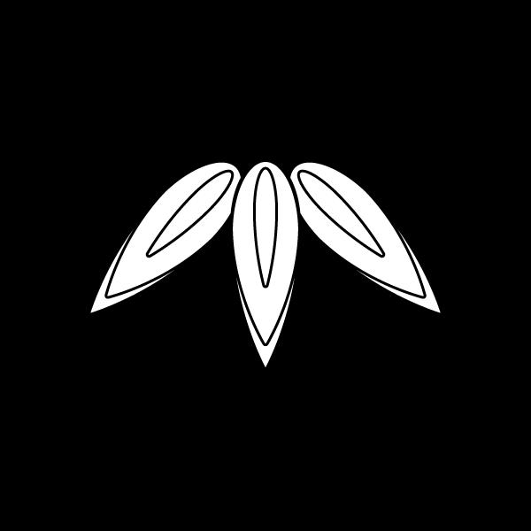塗り絵に最適な白黒でかわいい竹の葉の無料イラスト・商用フリー