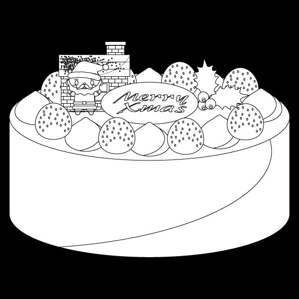 塗り絵に最適な白黒でかわいいクリスマスケーキの無料イラスト・商用フリー