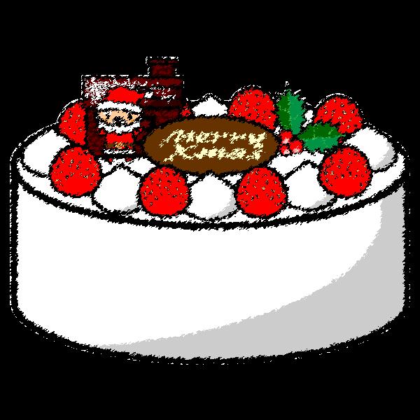手書き風でかわいいクリスマスケーキの無料イラスト・商用フリー