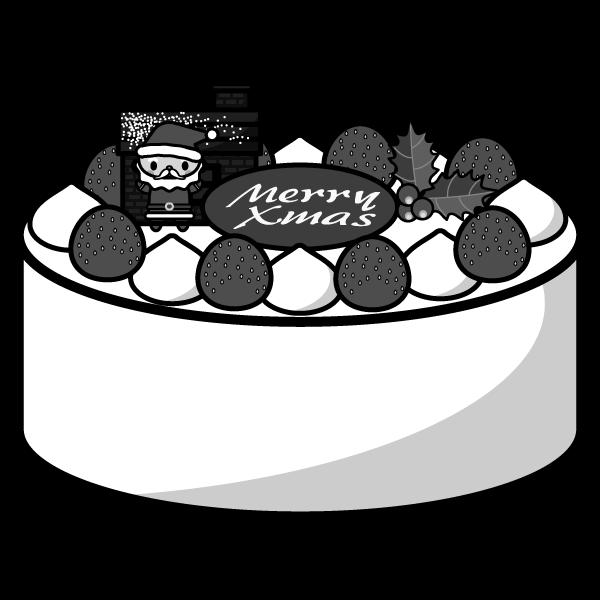 モノクロでかわいいクリスマスケーキの無料イラスト・商用フリー