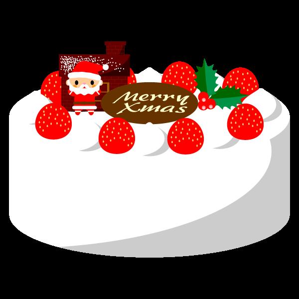 縁無しでかわいいクリスマスケーキの無料イラスト・商用フリー