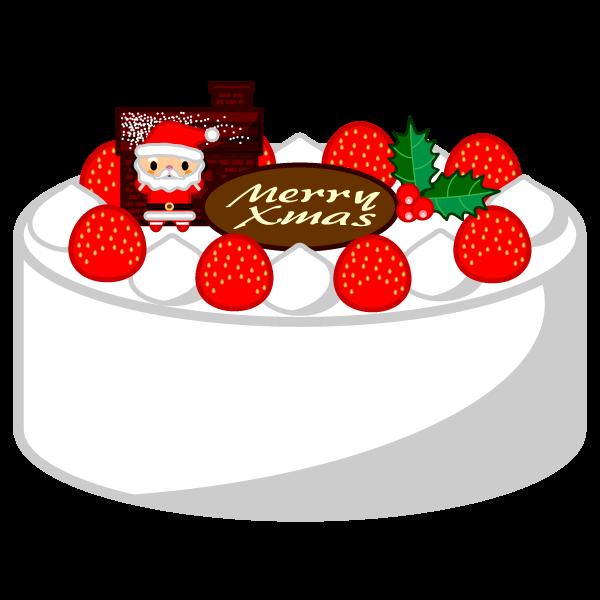 ソフトタッチでかわいいクリスマスケーキの無料イラスト・商用フリー