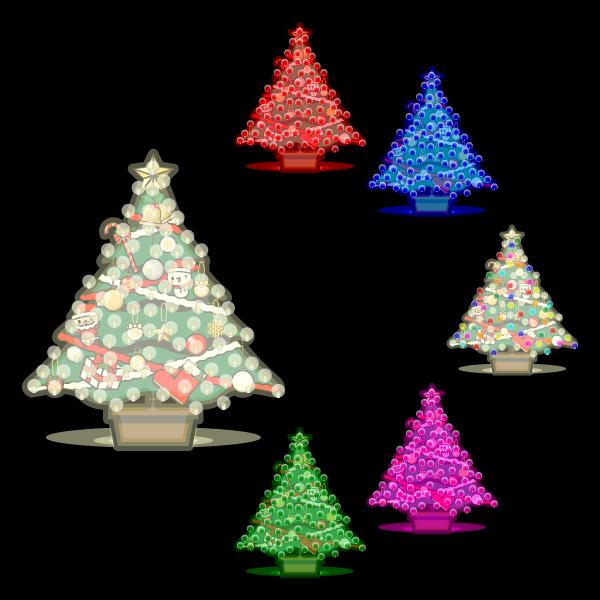 かわいいイルミネーション・クリスマスツリー(黒背景)の無料イラスト・商用フリー