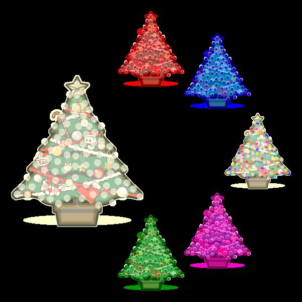 かわいいイルミネーション・クリスマスツリーの無料イラスト・商用フリー