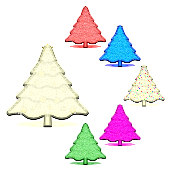 かわいいイルミネーション・クリスマスツリー2の無料イラスト・商用フリー