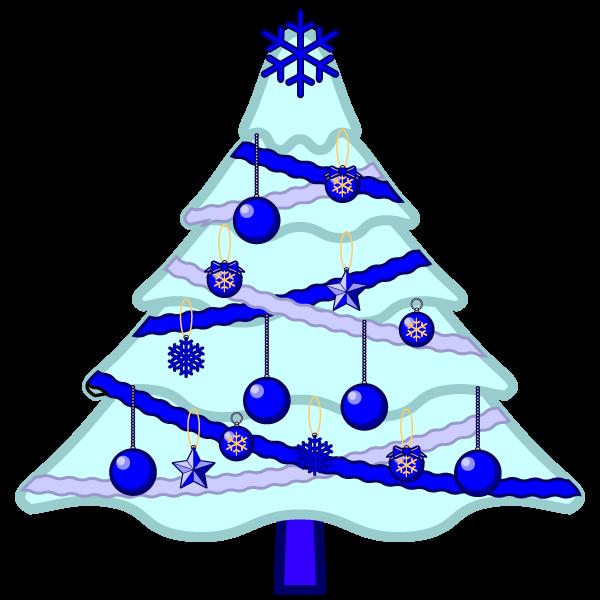ソフトタッチでかわいいクールな青いクリスマスツリーの無料イラスト・商用フリー