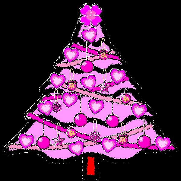 手書き風でかわいいラブラブなピンクのクリスマスツリーの無料イラスト・商用フリー