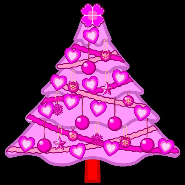 ソフトタッチでかわいいラブラブなピンクのクリスマスツリーの無料イラスト・商用フリー