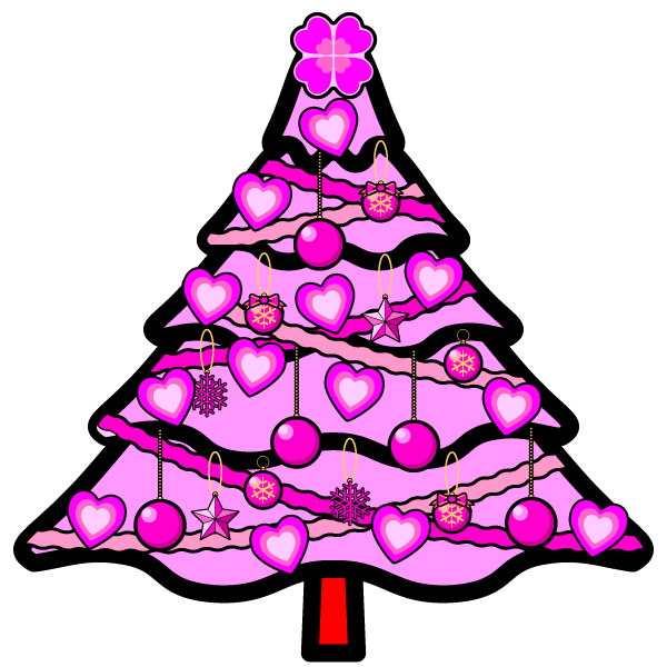 かわいいラブラブなピンクのクリスマスツリーの無料イラスト・商用フリー